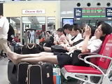 Asian Airport Cunt in Pantyhose