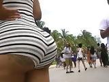 South Beach Ebony Booty Cheeks Out